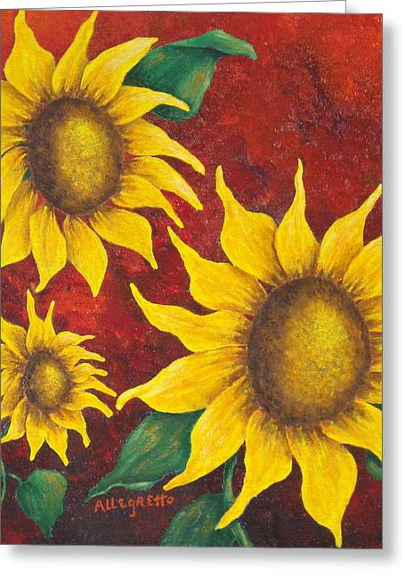 Allegretto Art Greeting Cards - Sunflowers at Sunset Greeting Card by Pamela Allegretto