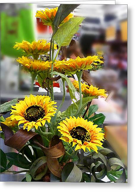 Farmers Market Fruit Greeting Cards - Sunflowers At The Market Florence Italy Greeting Card by Irina Sztukowski