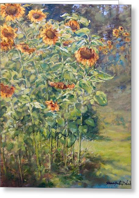 Farm Stand Paintings Greeting Cards - Sunflowers at Watermelon Farm Greeting Card by Sharon Jordan Bahosh