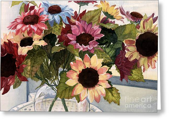 Vase Of Flowers Greeting Cards - Sunflowers Greeting Card by Barbara Jewell