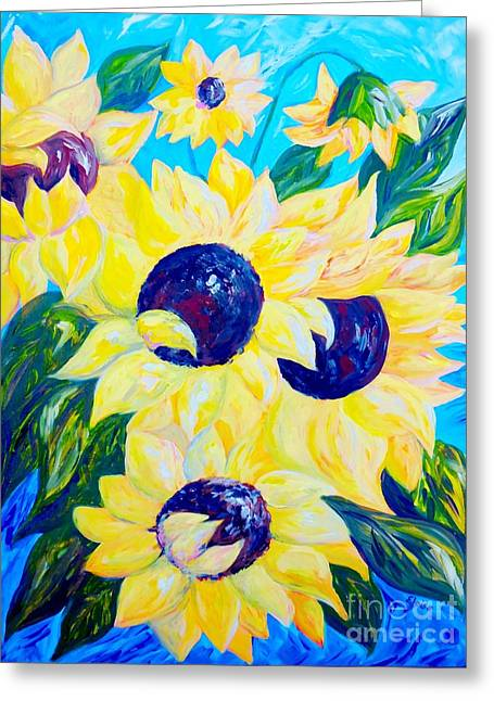 Impressionist Greeting Cards - Sunflowers Bathed in Light Greeting Card by Eloise Schneider