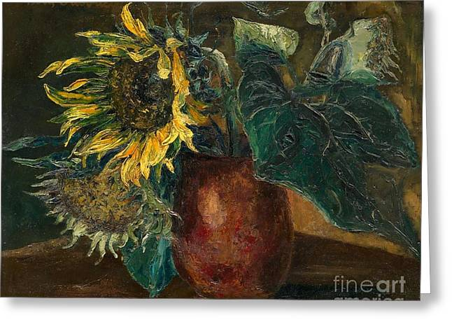 Strength Paintings Greeting Cards - Sunflowers Greeting Card by Celestial Images
