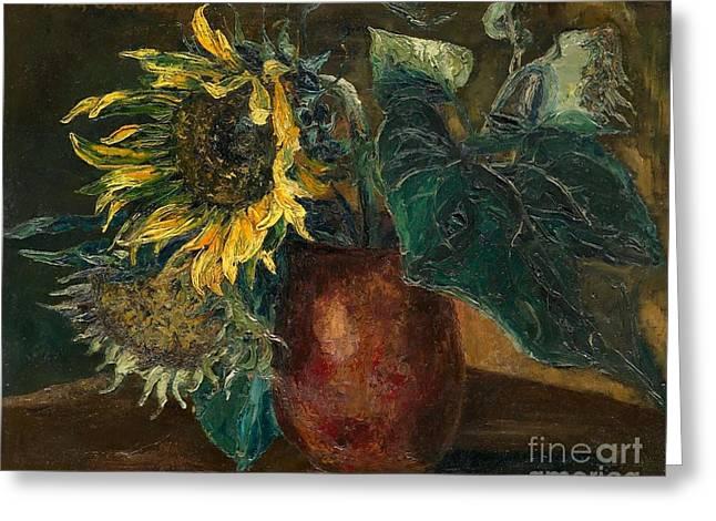 Orthodox Paintings Greeting Cards - Sunflowers Greeting Card by Boris Grigoriev