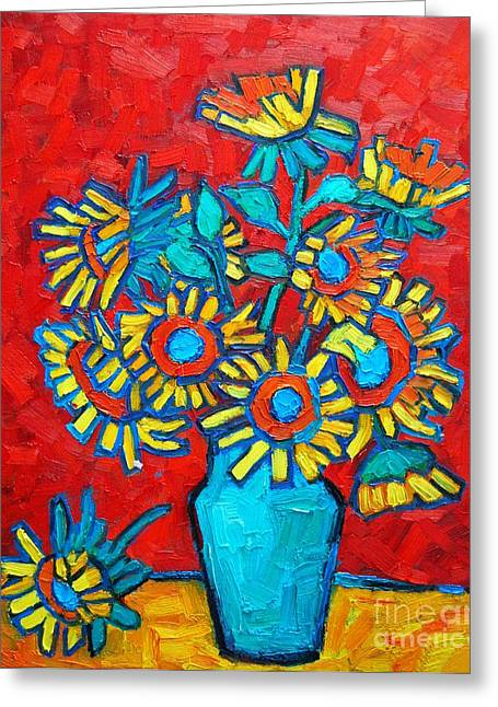 Vivid Color Palette Greeting Cards - Sunflowers Bouquet Greeting Card by Ana Maria Edulescu