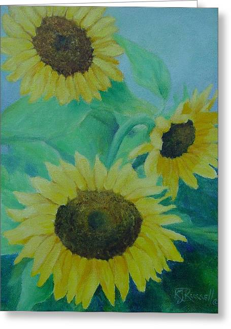 Sunflowers Bouquet Original Oil Painting Greeting Card by K Joann Russell