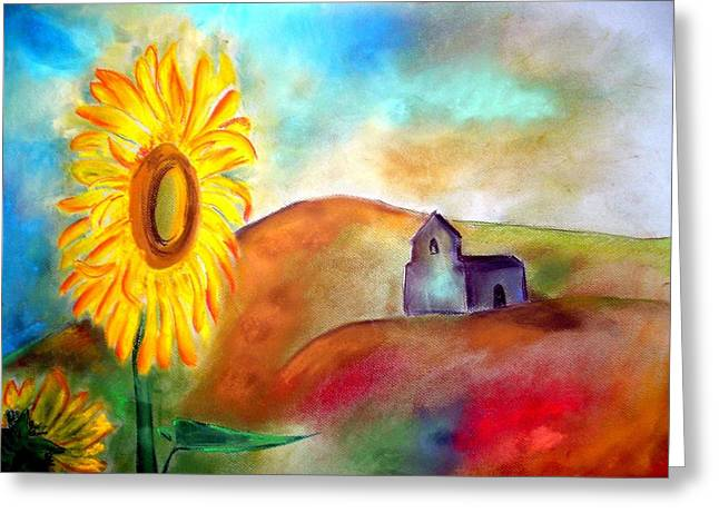 The Hills Pastels Greeting Cards - Sunflowers by the hermitage Greeting Card by Rosa Garcia Sanchez