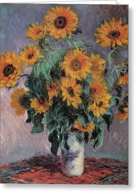 Sunflowers Greeting Cards - Sunflowers Greeting Card by Claude Monet