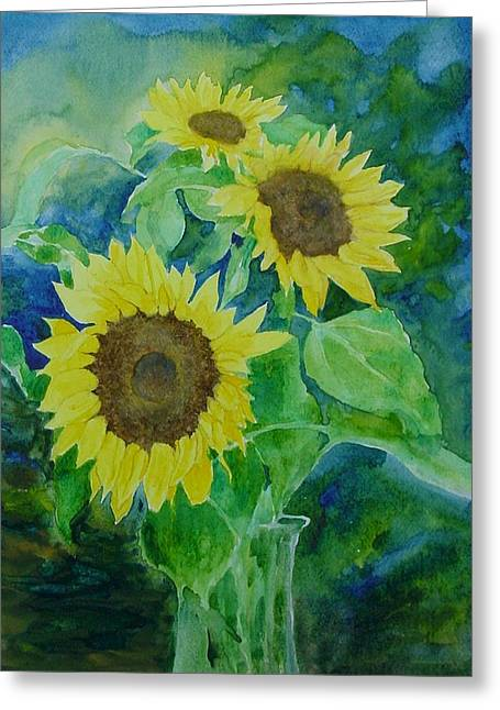 Sunflowers Colorful Sunflower Art Of Original Watercolor Greeting Card by K Joann Russell
