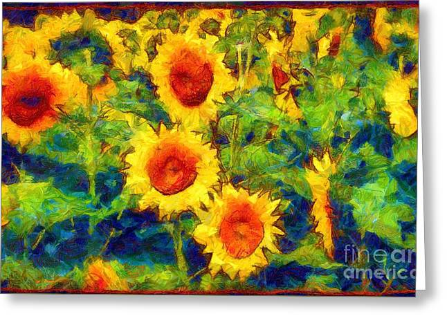 Flora And Fauna Greeting Cards - Sunflowers Dance in a field Greeting Card by Janine Riley