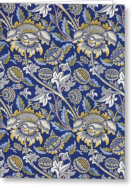 Wallpaper Tapestries Textiles Greeting Cards - Sunflowers design Greeting Card by William Morris