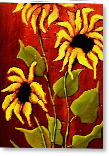 Yellow Sunflower Greeting Cards - Sunflowers Greeting Card by Dimitra Papageorgiou