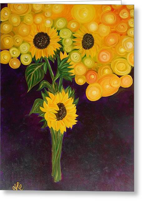 Surreal Landscape Greeting Cards - Sunflowers Dream Greeting Card by Yesi Casanova