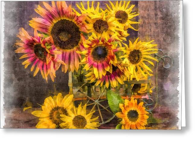 Old Masters Photographs Greeting Cards - Sunflowers Greeting Card by Edward Fielding