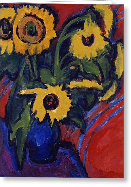 Ernst Greeting Cards - Sunflowers Greeting Card by Ernst Ludwig Kirchner