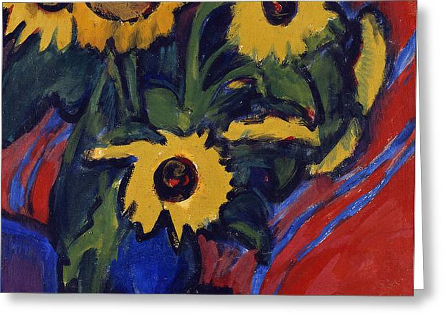 Sunflowers Greeting Card by Ernst Ludwig Kirchner
