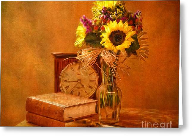 Pen And Paper Digital Art Greeting Cards - Sunflowers Floral Still Life 6 Greeting Card by Anna Surface
