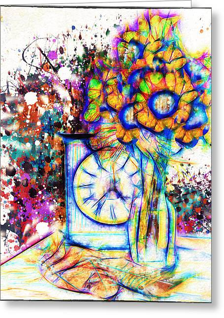 Abstract Digital Digital Greeting Cards - Sunflowers Floral Still Life 7 Greeting Card by Anna Surface