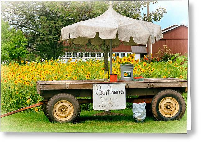 Farm Stand Greeting Cards - Sunflowers for Sale Greeting Card by Carolyn Derstine