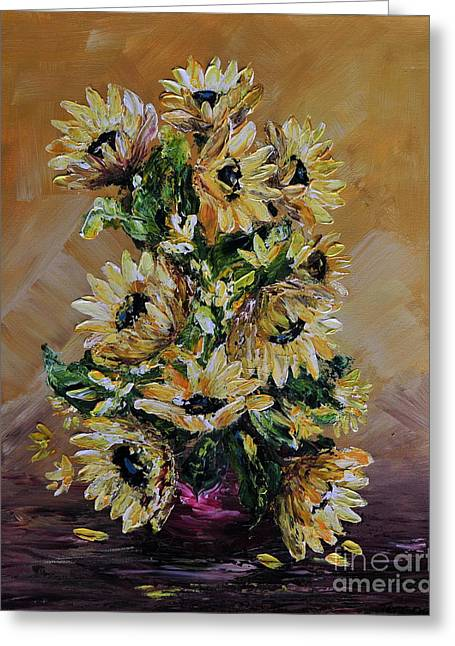 Yellow Sunflower Greeting Cards - Sunflowers For You Greeting Card by Teresa Wegrzyn