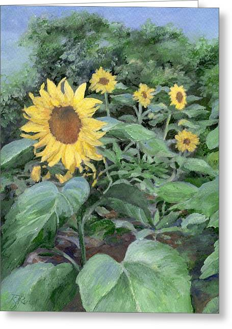 Sunflowers Garden Floral Art Colorful Original Painting Greeting Card by K Joann Russell