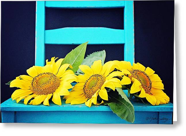 Yellow Sunflower Pyrography Greeting Cards - Sunflowers  Greeting Card by Heather Saulsbury