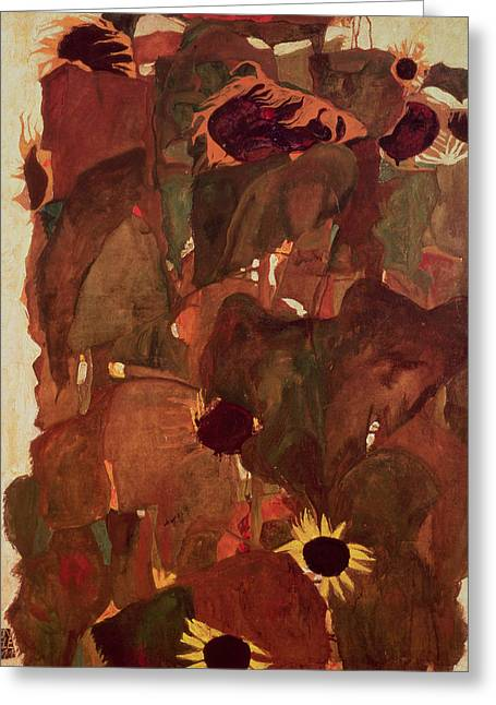 Abstract Expressionist Greeting Cards - Sunflowers Ii, 1911 Greeting Card by Egon Schiele