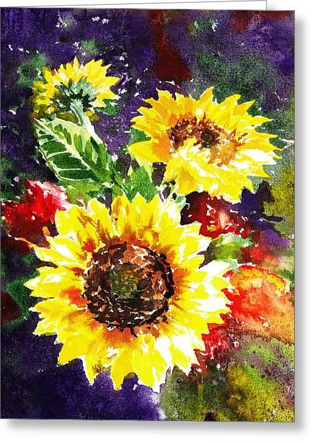 Sunflower Decor Greeting Cards - Sunflowers Impressionism Greeting Card by Irina Sztukowski