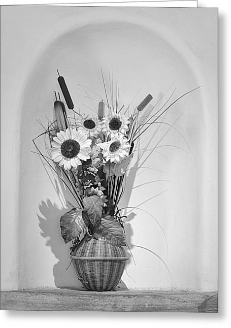 Crops Greeting Cards - Sunflowers in a basket Greeting Card by Christine Till