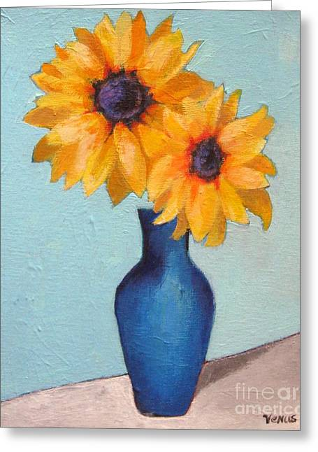 Recently Sold -  - Flower Still Life Prints Greeting Cards - Sunflowers In A Blue Vase Greeting Card by Venus