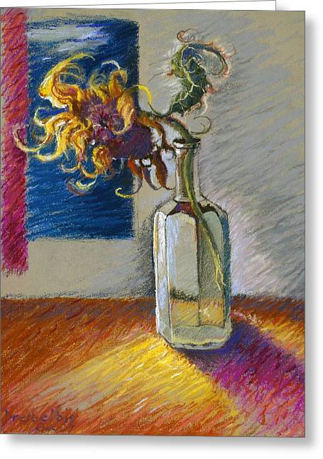 Sunflowers Pastels Greeting Cards - Sunflowers in a Bottle Greeting Card by Ellen Dreibelbis