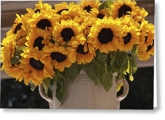 Vase Of Flowers Greeting Cards - Sunflowers In A Ceramic Vase, Puglia Greeting Card by Heather Elton