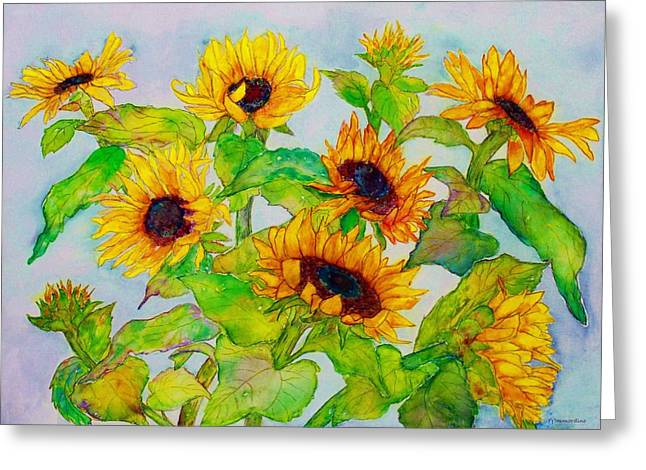 Sunflowers In A Field Greeting Card by Janet Immordino