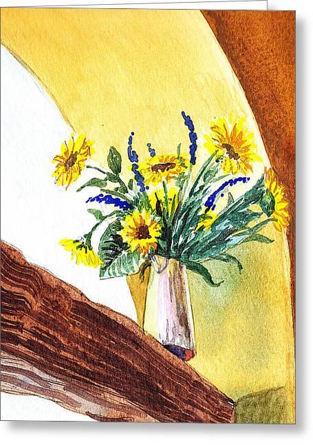 Sunflower Decor Greeting Cards - Sunflowers In A Pitcher Greeting Card by Irina Sztukowski
