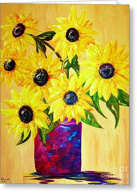 Vase Greeting Cards - Sunflowers in a Red Pot Greeting Card by Eloise Schneider