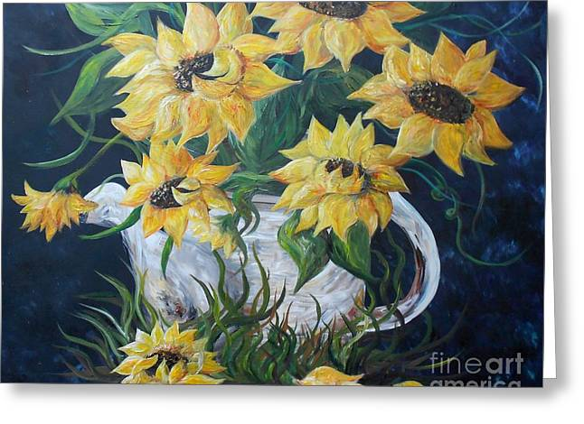 Old Pitcher Greeting Cards - Sunflowers in an Antique Country Pot Greeting Card by Eloise Schneider