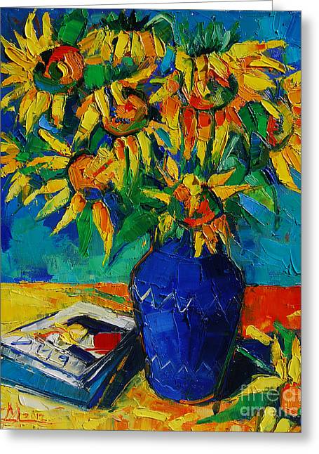 Emona Greeting Cards - Sunflowers In Blue Vase Greeting Card by Mona Edulesco