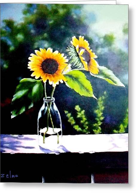 Zelma Hensel Greeting Cards - Sunflowers in clear vase Greeting Card by Zelma Hensel