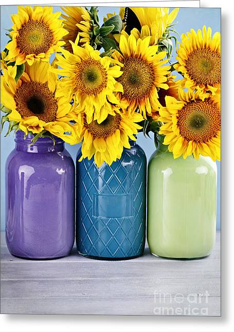Yellow Sunflower Greeting Cards - Sunflowers in Painted Mason Jars Greeting Card by Stephanie Frey