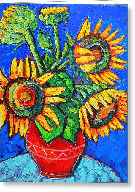 Recently Sold -  - Green And Yellow Abstract Greeting Cards - Sunflowers In Red Vase Original Oil Painting Greeting Card by Ana Maria Edulescu