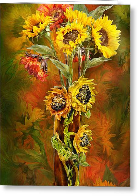 Sunflower Art Greeting Cards - Sunflowers In Sunflower Vase Greeting Card by Carol Cavalaris