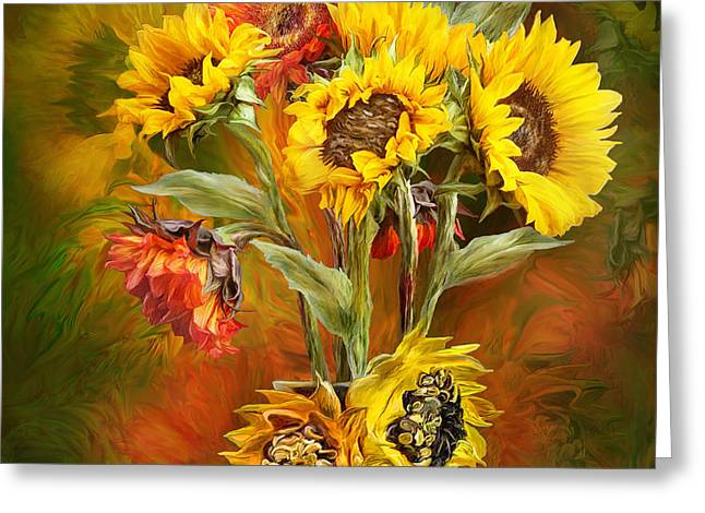 Sunflowers In Sunflower Vase - Square Greeting Card by Carol Cavalaris
