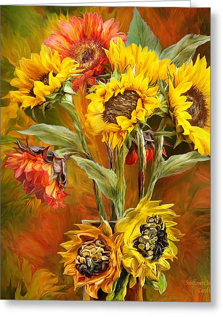 Yellow Sunflower Greeting Cards - Sunflowers In Sunflower Vase - Square Greeting Card by Carol Cavalaris