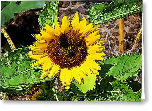 Antenna Paintings Greeting Cards - Sunflowers in the field with a bee Greeting Card by Lanjee Chee