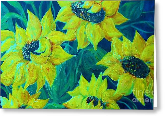 Wildflower Greeting Cards - Sunflowers in the Early Morning Light Greeting Card by Eloise Schneider