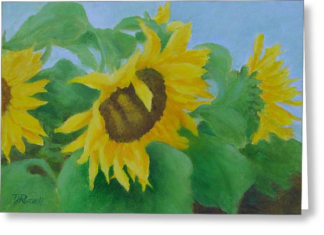 K Joann Russell Greeting Cards - Sunflowers In The Wind Colorful Original Sunflower Art Oil Painting Artist K Joann Russell           Greeting Card by K Joann Russell