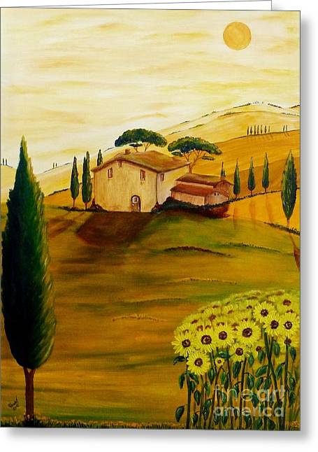 Tuscan Sunset Greeting Cards - Sunflowers in Tuscany Greeting Card by Christine Huwer