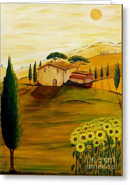 Best Sellers -  - Tuscan Sunset Greeting Cards - Sunflowers in Tuscany Greeting Card by Christine Huwer