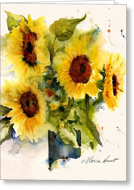 Yellow Sunflower Greeting Cards - Sunflowers Greeting Card by Maria Hunt