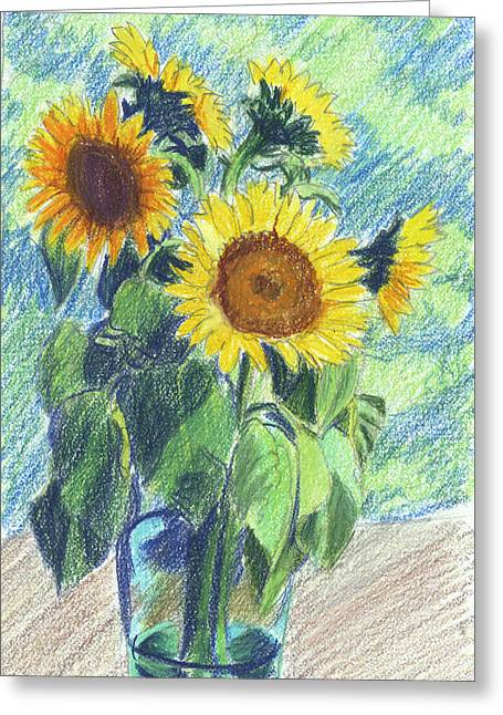 Sunflowers Greeting Card by Mary Helmreich
