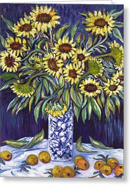 Mix Medium Mixed Media Greeting Cards - SUNFLOWERS  MASTERPEASE    Art Deco Greeting Card by Gunter  Hortz
